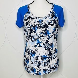 NY&Co floral mixed fabric blouse blue Small